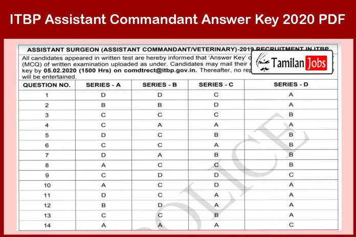 ITBP Assistant Commandant Answer Key 2020 Out – Download Here