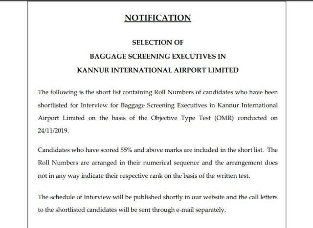 KIAL Baggage Screening Executive Result 2020
