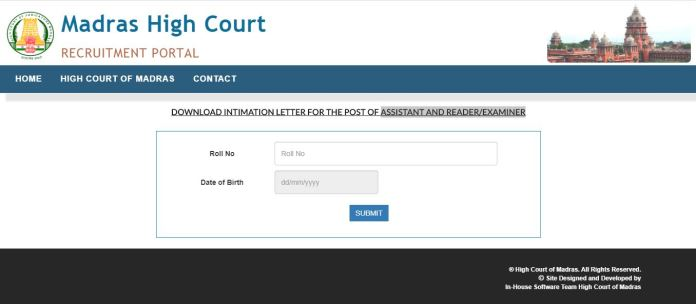 Madras High Court Intimation Letter 2020 OUT | Download CV Date
