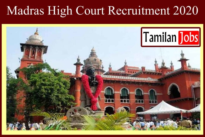 Madras High Court Recruitment 2020 Out – Apply 04 Research Fellow Jobs