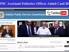 OPSC Assistant Fisheries Officer Admit Card 2020