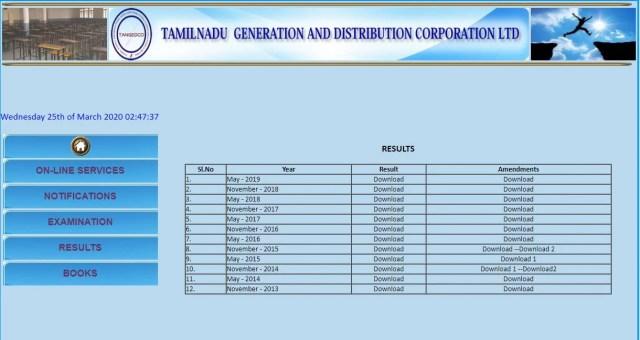TNEB Departmental Exam Result 2020