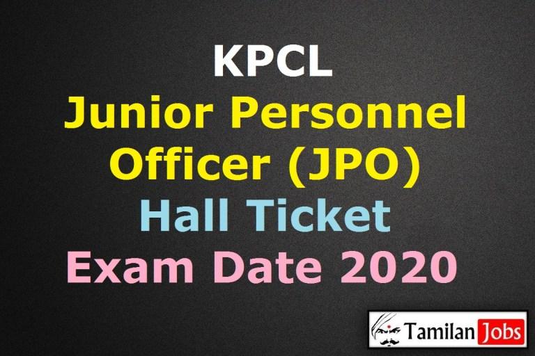 KPCL Junior Personnel Officer Hall Ticket 2020 Release Soon | JPO Exam Date @ karnatakapower.com