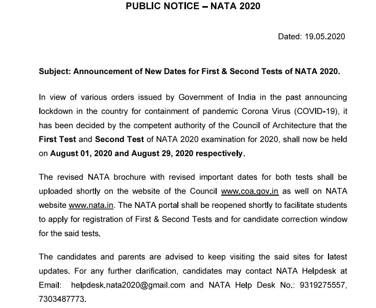 NATA 2020 New Date Announced | Check Here Details