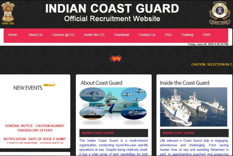 Indian Coast Guard Recruitment 2020 Out – Apply Online 50 Steward , Cook Jobs