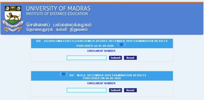 Madras University MBA Exam Result 2020 OUT @ unom.ac.in