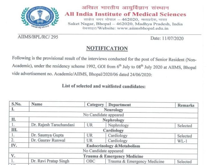AIIMS Bhopal Result 2020 OUT | Senior Resident (Non-Academic) @aiimsbhopal.edu.in