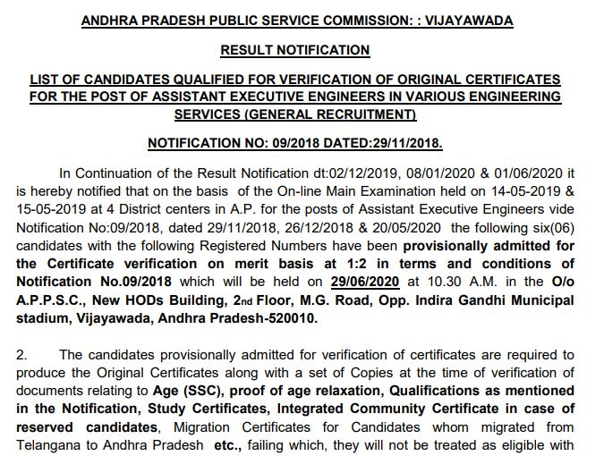 APPSC AEE Mains Result 2020 OUT @ psc.ap.gov.in | Cut Off, Merit List
