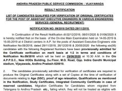 APPSC AEE Mains Result 2020