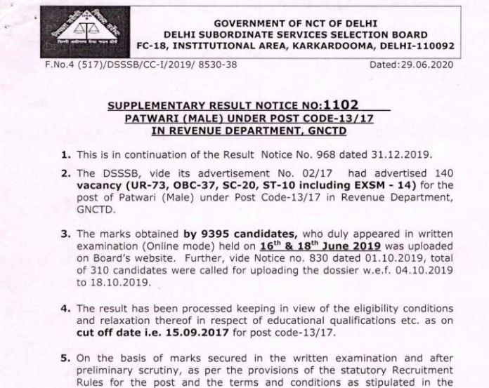 DSSSB Patwari Result 2020