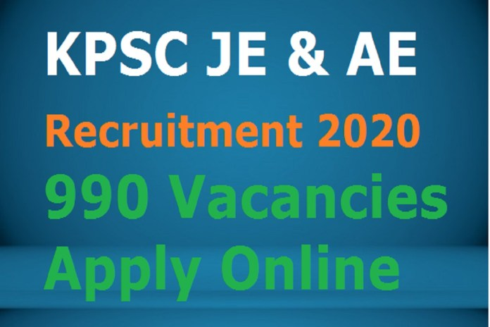 KPSC JE & AE Recruitment 2020 OUT, Apply Online 990 Vacancies, Last Date