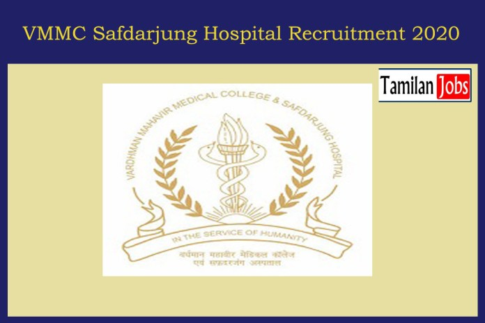 VMMC Safdarjung Hospital Recruitment 2020 Out – Apply 90 Trainee Jobs