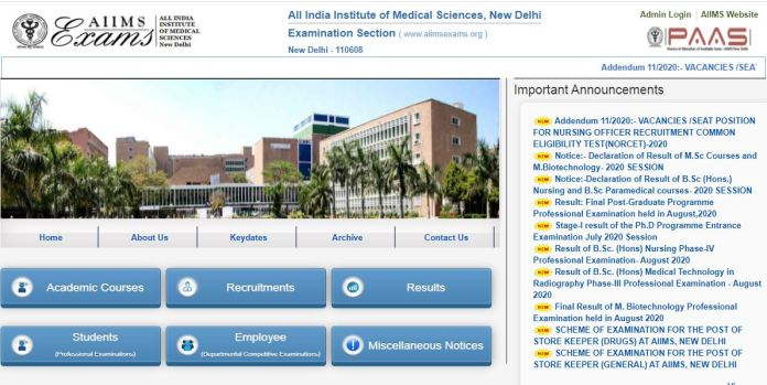 AIIMS Nursing Officer Admit Card 2020 Yet To Release Soon @ aiimsexams.org