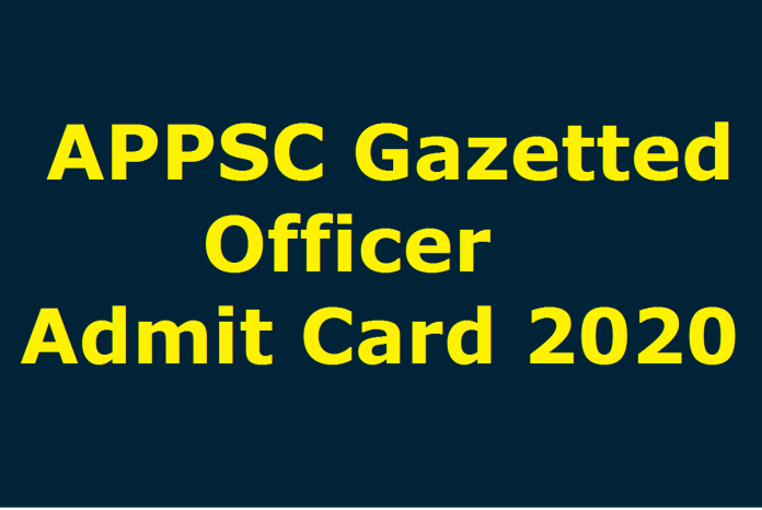 APPSC Gazetted Officer Admit Card 2020 OUT | Exam Date @ psc.ap.gov.in