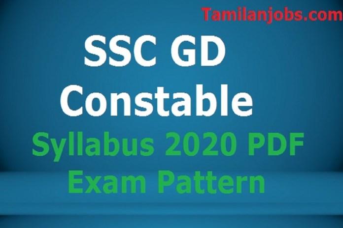 SSC GD Constable Syllabus 2020 PDF, Exam Pattern English and Hindi
