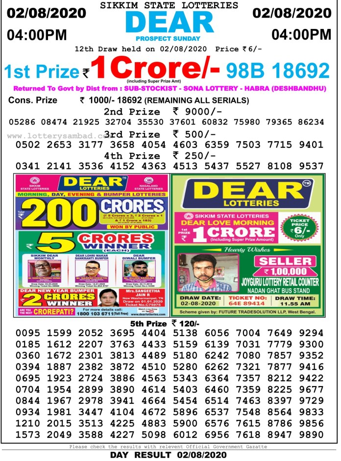 Sikkim State Lottery Sambad Result 2.8.2020 at 4 PM