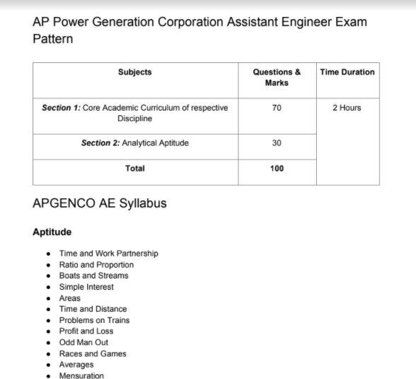 APGENCO AE Syllabus 2020