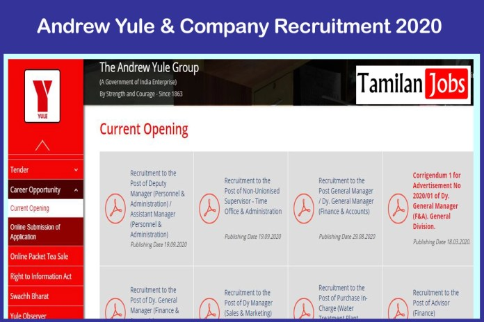 Andrew Yule & Company Recruitment 2020 Out – Apply Deputy Manager Jobs