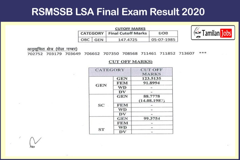 RSMSSB LSA Final Result 2020 (Out) | Expected Cut off, Merit List