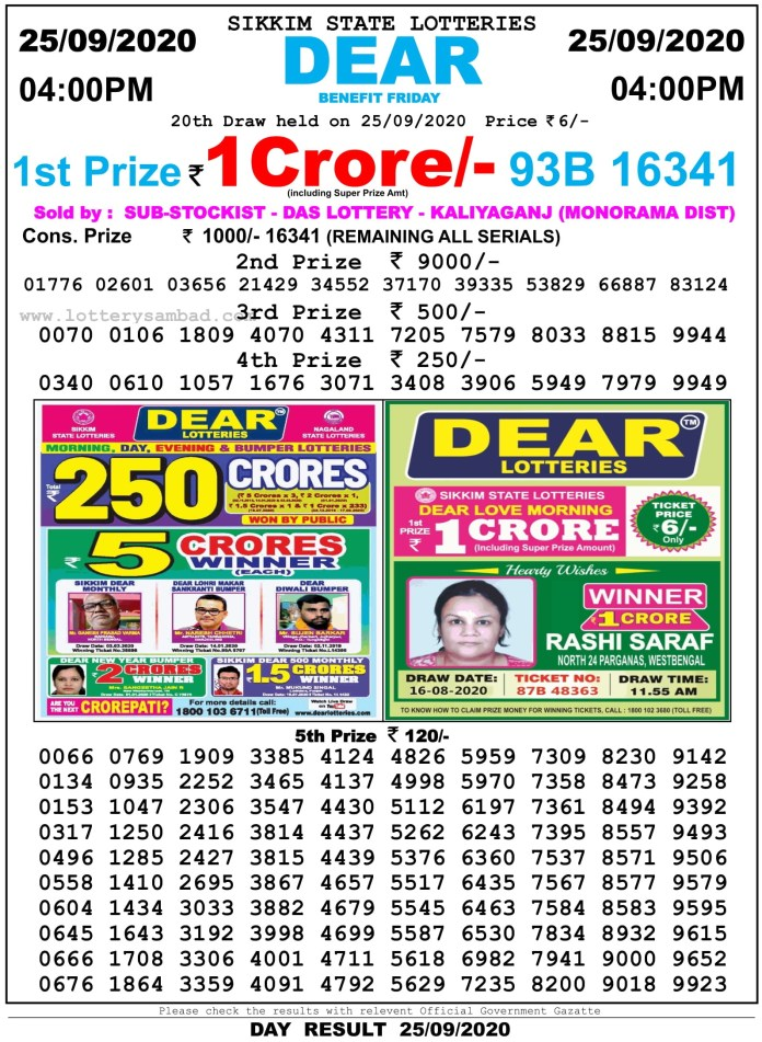 Sikkim State Lottery Result 4 PM 25.9.2020