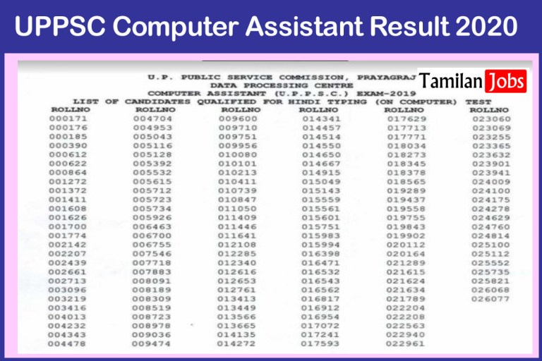 UPPSC Computer Assistant Result 2020 (Out) Cut Off Marks, Merit List