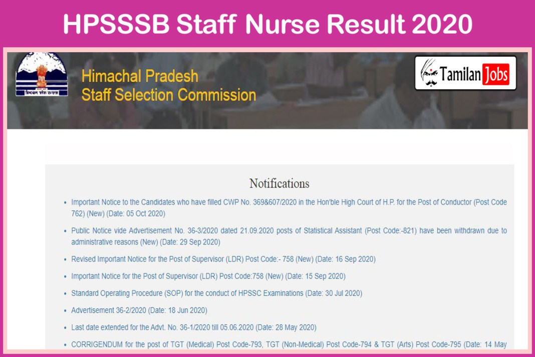 HPSSSB Staff Nurse Result 2020