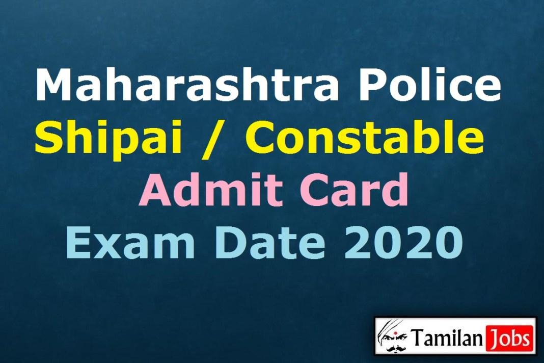 Maharashtra Police Shipai Admit Card 2020
