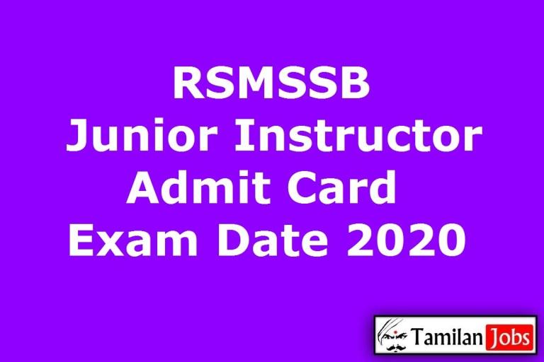 RSMSSB Junior Instructor Admit Card 2020, Kanishth Anudeshak Exam Date
