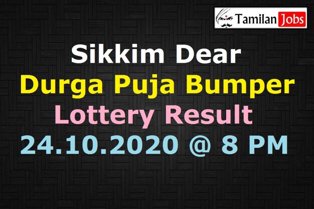 Sikkim Dear Durga Puja Bumper Lottery Result 24.10.2020 8 PM