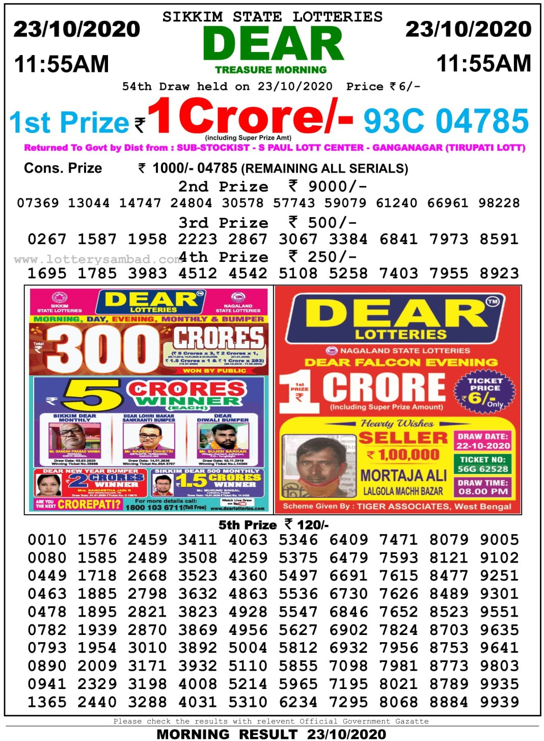 Sikkim State Lottery Result 11.55 AM 23.10.2020