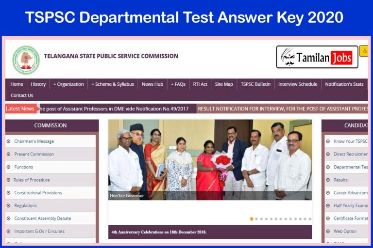TSPSC Departmental Test Answer Key 2020 PDF | Download @ tspsc.gov.in