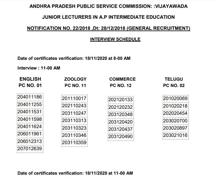 APPSC Interview Schedule 2020 Released at psc.ap.gov.in