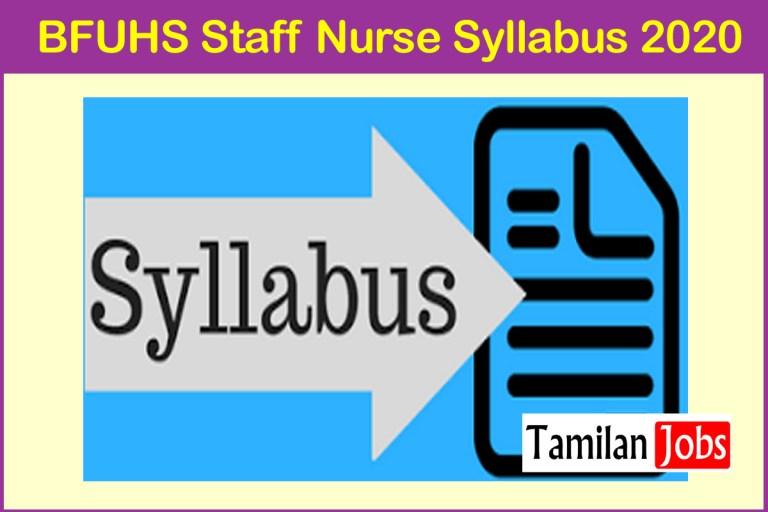 BFUHS Staff Nurse Syllabus 2020 PDF, Exam Pattern at bfuhs.ac.in