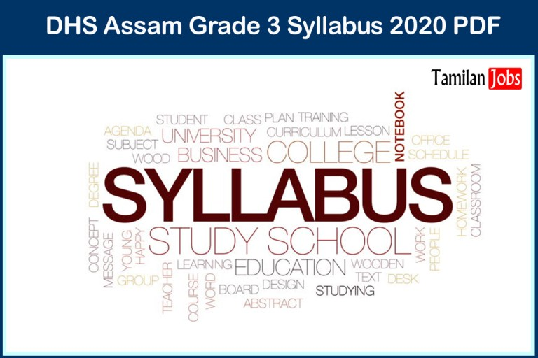 DHS Assam Grade 3 Syllabus 2020 PDF Download @ dhs.assam.gov.in