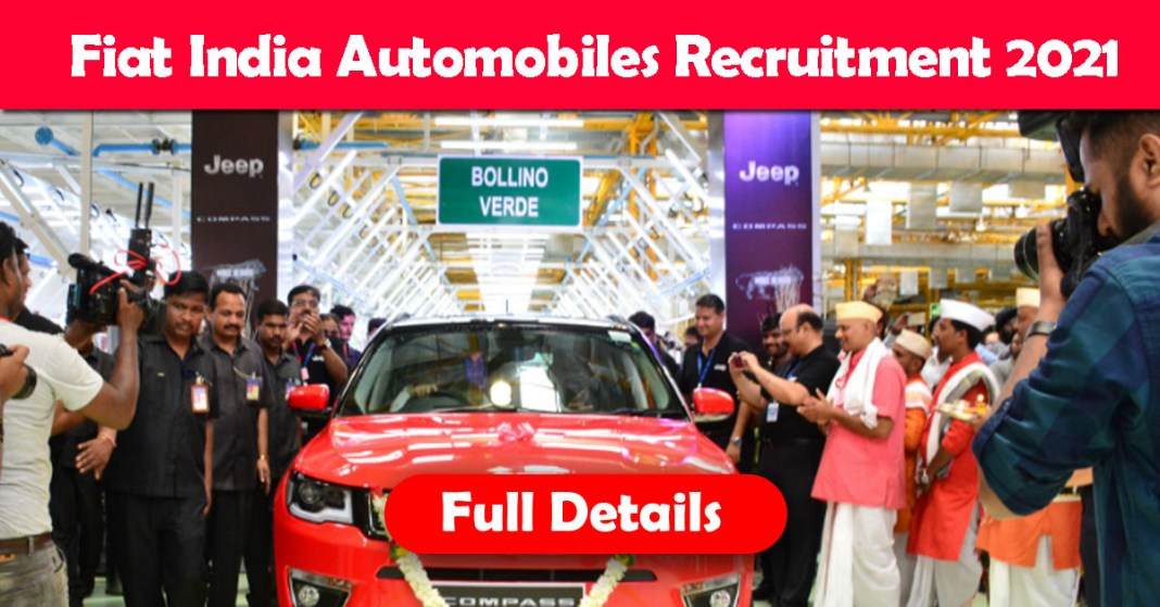 Fiat India Automobiles Recruitment 2021