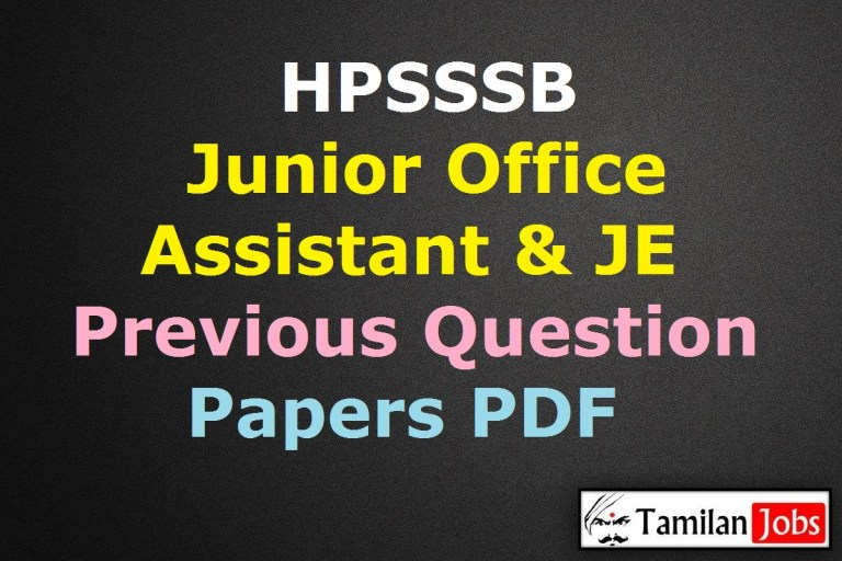 HPSSSB Junior Office Assistant Previous Question Papers PDF, JE Old Papers