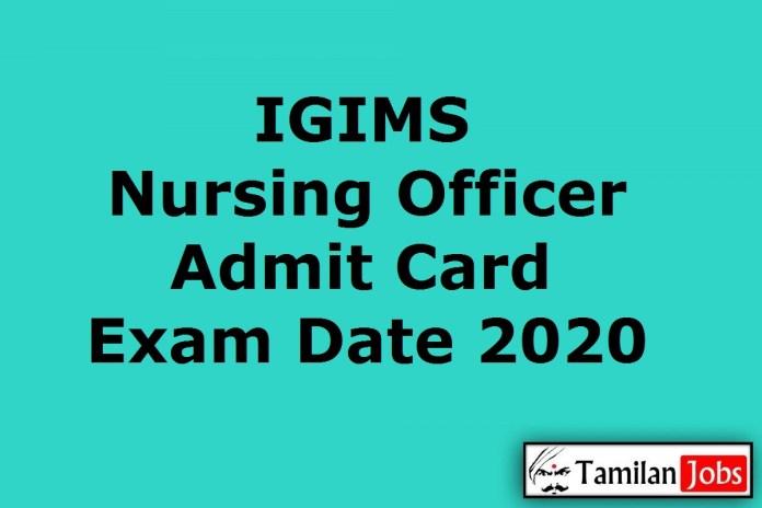 IGIMS Nursing Officer Admit Card 2020