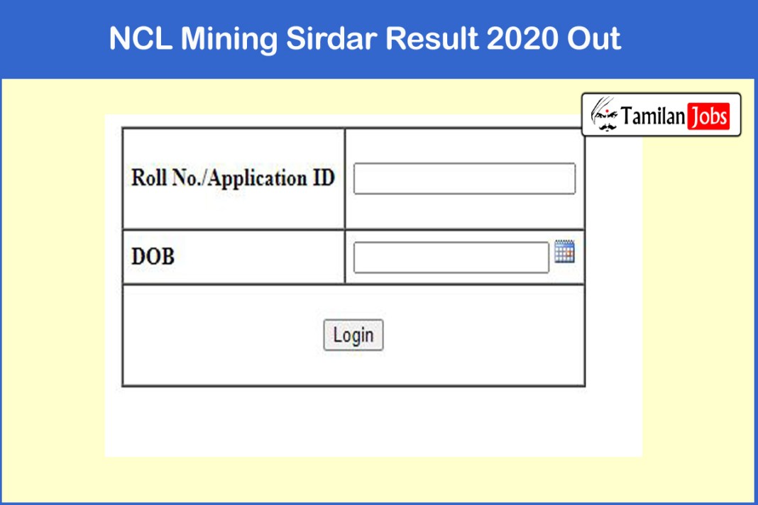 NCL Mining Sirdar Result 2020 Out