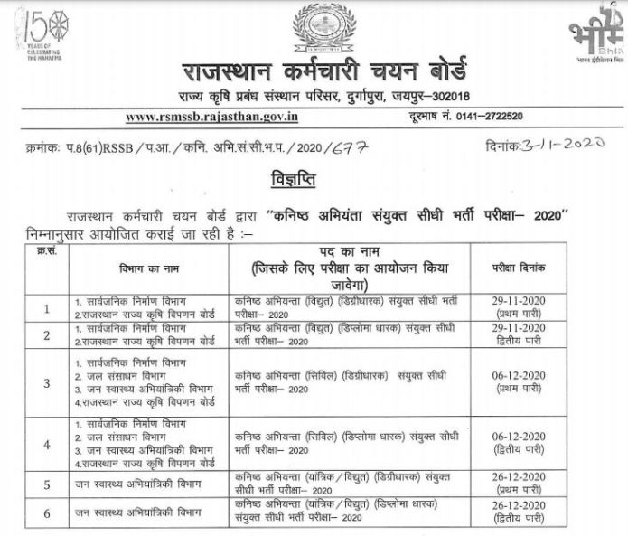 Rajasthan RSMSSB JE Exam Date 2020 Released @ rsmssb.rajasthan.gov.in
