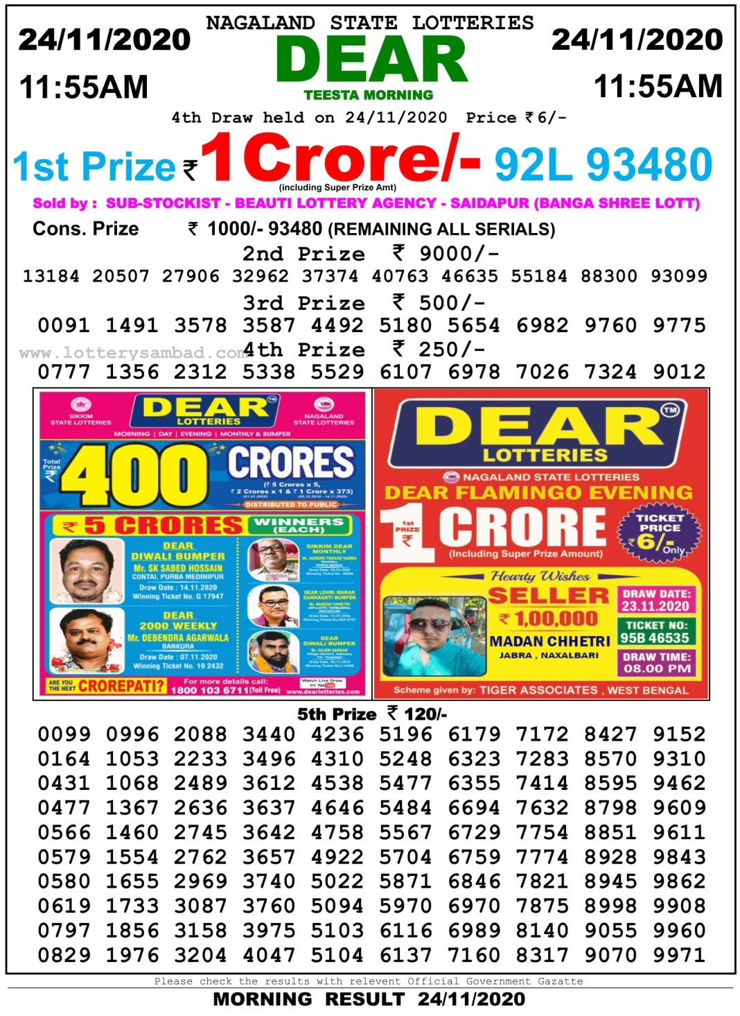 Sikkim State Lottery Result 11.55 AM 24.11.2020