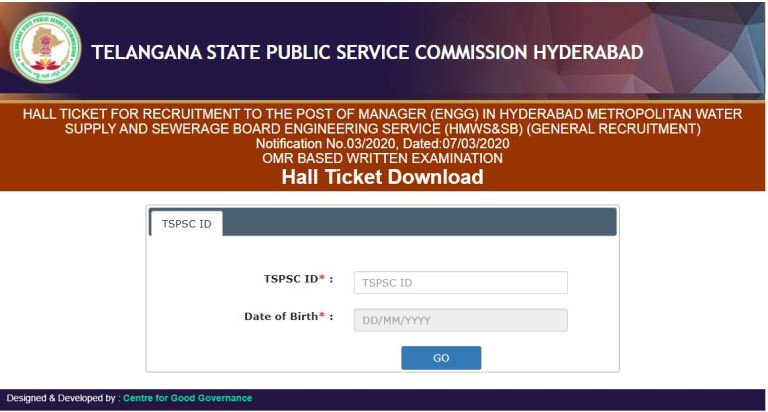TSPSC Manager Hall Ticket 2020 (OUT), Exam Date @ tspsc.gov.in
