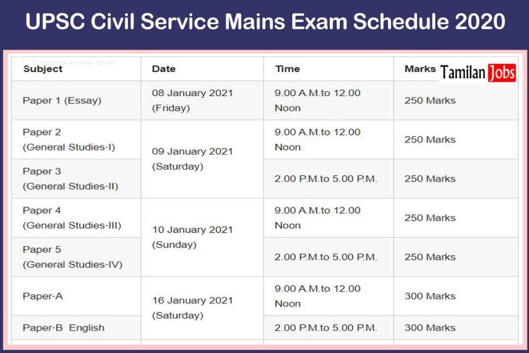 UPSC Civil Service Mains Exam Schedule 2020