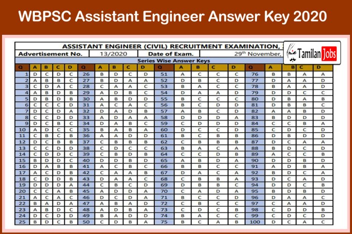 WBPSC Assistant Engineer Answer Key 2020 (Out) at wbpsc.gov.in