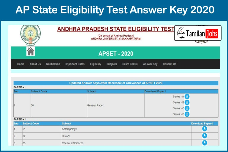 APSET Final Answer Key 2020 PDF Download | Check Exam Key, Objections @ apset.net.in