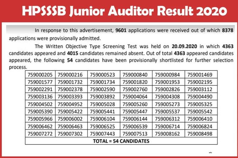 HPSSSB Junior Auditor Result 2020 Announced | Check Selection List, Merit List Here!!