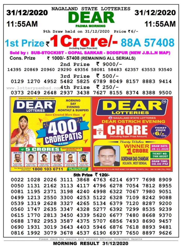 Sikkim Lottery Sambad 11.55 AM Result