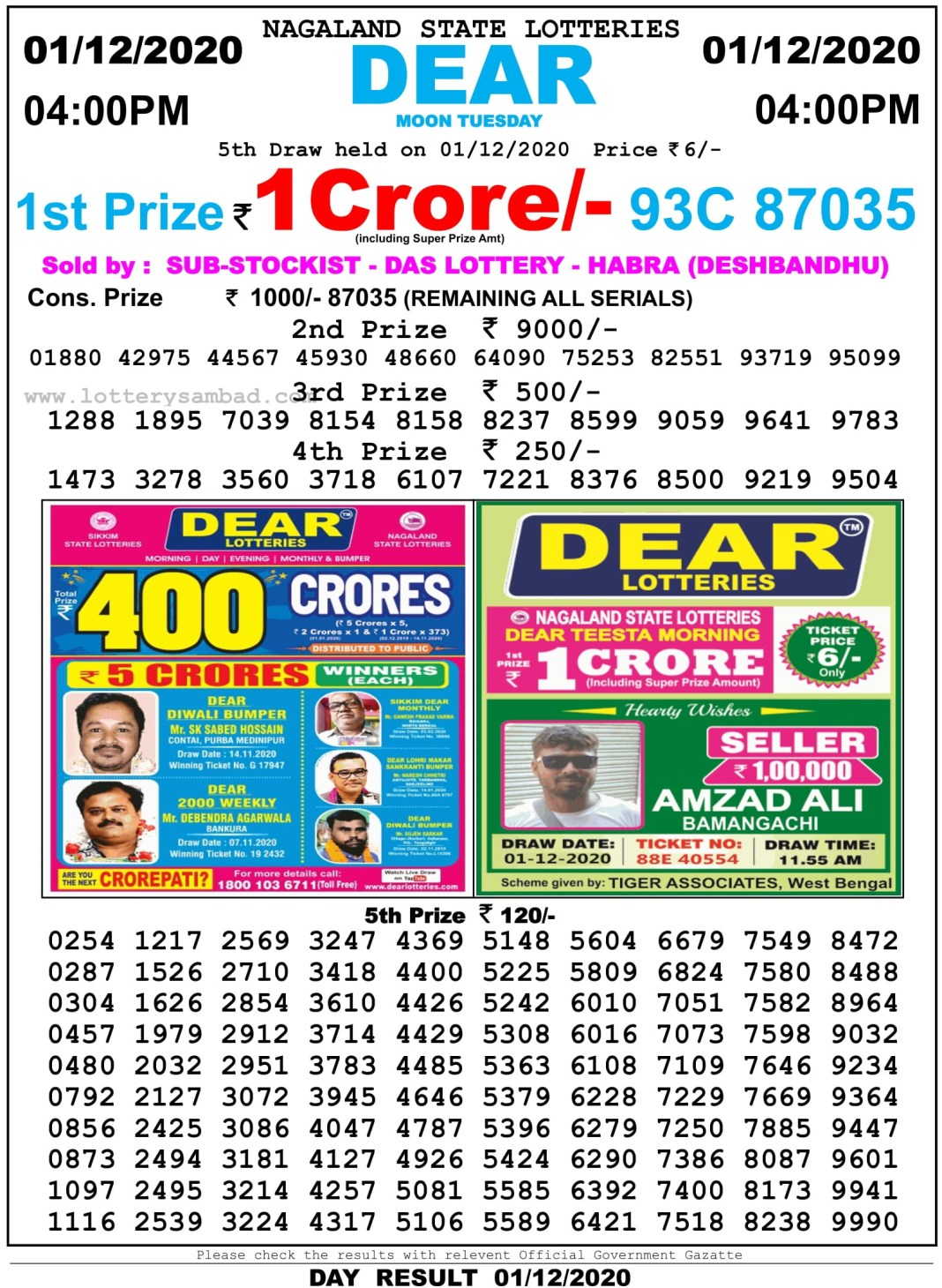 Nagaland State Lottery Result 4 PM 1.12.2020
