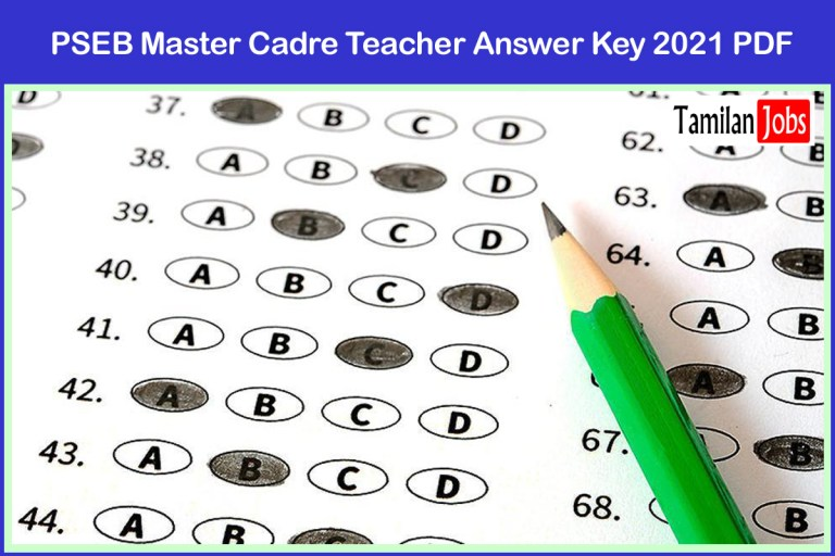 PSEB Master Cadre Teacher Answer Key 2021 PDF (Released) | Check details at ssapunjab.org