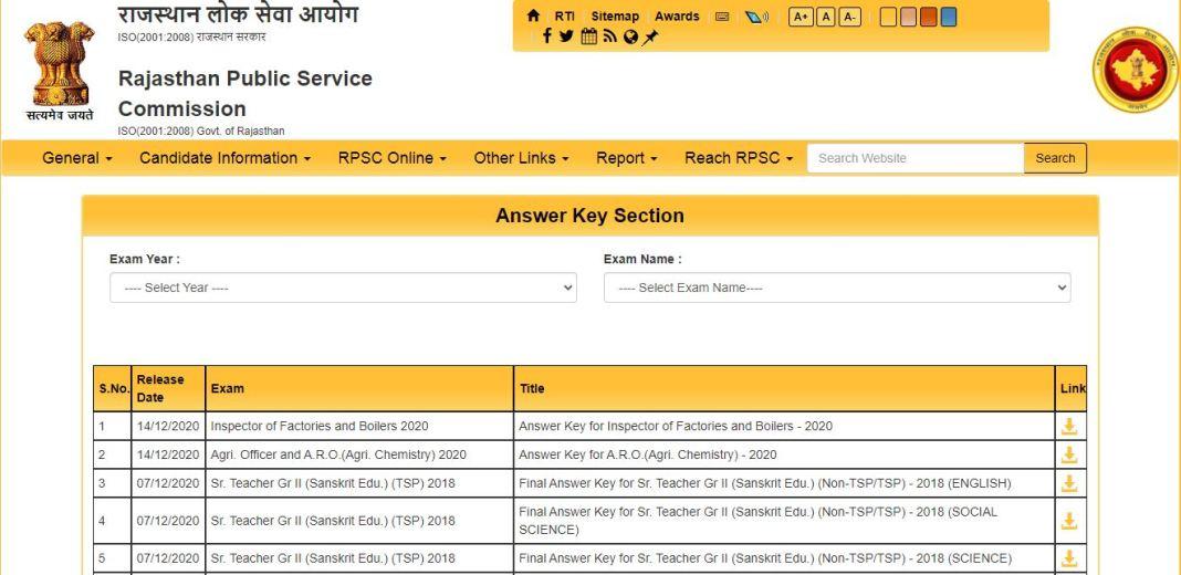RPSC School Lecturer Answer Key 2020 PDF