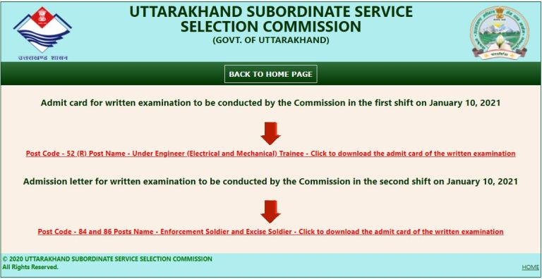 UKSSSC Abkari and Pravartan Sipahi Admit Card 2021 (OUT), Exam Date @ sssc.uk.gov.in